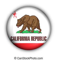 redondo, botão, eua, bandeira estatal, de, califórnia