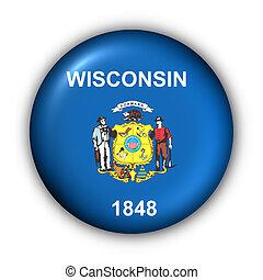 redondo, botão, eua, bandeira estatal, de, wisconsin