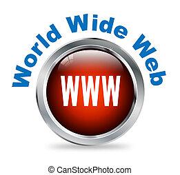 redondo, botón, de, world wide web, -, www