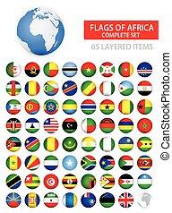 redondo, brillante, banderas, de, áfrica, completo, conjunto