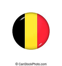 redondo, brillante, belgium., botón, illustration., bandera, vector, insignia, icono
