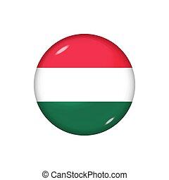 redondo, brillante, botón, illustration., bandera, vector, ...
