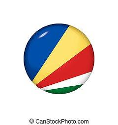 redondo, brillante, botón, illustration., bandera, vector, seychelles., insignia, icono