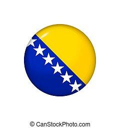redondo, brillante, botón, illustration., bosnia, ...