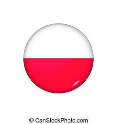 redondo, brillante, botón, illustration., poland., bandera, vector, insignia, icono