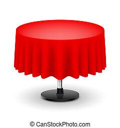 redondo, cloth., tabela, vermelho