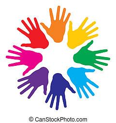 redondo, coloridos, mãos