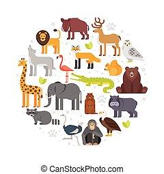 redondo, composición, de, zoo, animales, icons.