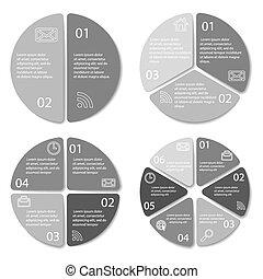 redondo, conjunto, diagrama, infographic