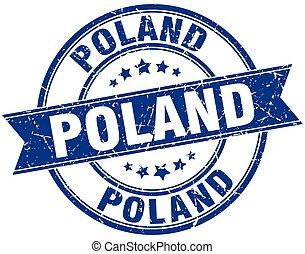 redondo, estampilla, cinta, vendimia, polonia, grunge, azul