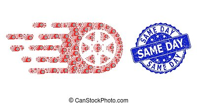 redondo, estampilla, fractal, mismo, rueda, bolide, icono, día, composición, sello, rasguñado
