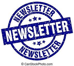 redondo, estampilla, newsletter, grunge, azul