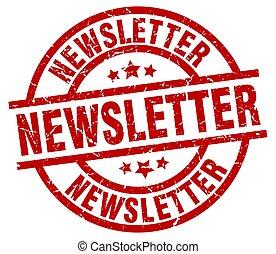 redondo, estampilla, newsletter, grunge, rojo