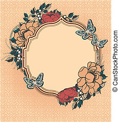 redondo, floral, marco, plantilla