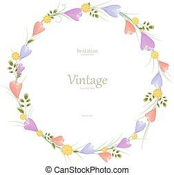 redondo, floral, quadro, com, flores mola, para, seu, design.