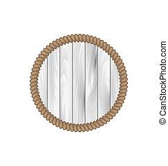 redondo, frame madeira, com, corda, isolado, branco, fundo