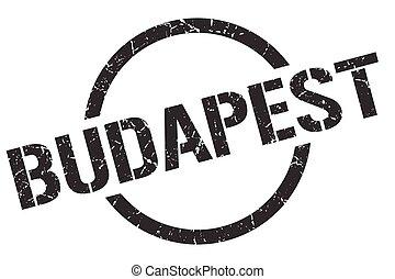 redondo, grunge, aislado, señal, budapest, stamp.