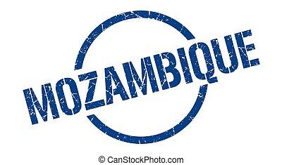 redondo, grunge, aislado, señal, stamp., mozambique