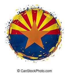 redondo, grunge, bandeira, de, arizona, nós, estado, com, esguichos, em, bandeira, color.