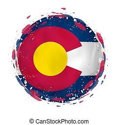 redondo, grunge, bandeira, de, colorado, nós, estado, com, esguichos, em, bandeira, color.