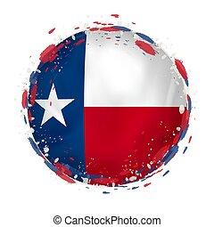 redondo, grunge, bandeira, de, texas, nós, estado, com, esguichos, em, bandeira, color.