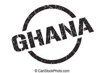 redondo, grunge, ghana, aislado, señal, stamp.