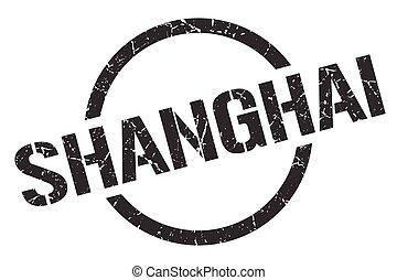 redondo, grunge, señal, shanghai, stamp., aislado