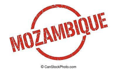 redondo, grunge, señal, stamp., aislado, mozambique