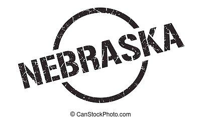 redondo, grunge, señal, stamp., nebraska, aislado