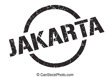 redondo, grunge, yakarta, señal, stamp., aislado