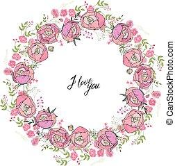 redondo, guirlanda floral, com, rosa, flowers., decoração, para, casório, e, romanticos, desenho
