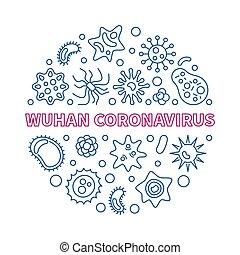 redondo, ilustración, contorno, wuhan, coronavirus, vector, ...