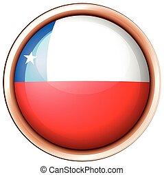 redondo, insignia, con, bandera de chile