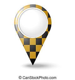 redondo, mapa, ponteiros, 3d