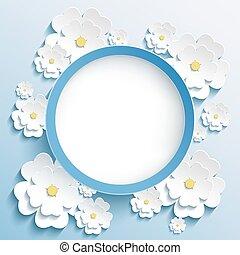 redondo, marco, con, 3d, sakura, invitación, o, tarjeta de felicitación