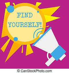 redondo, mostrando, negócio, tornar-se, coisas, balloon, announcement., speakingtrumpet, você mesmo, nota, yourself., selfsufficient, foto, showcasing, fala, escrita, texto, achar, vazio, acariciado