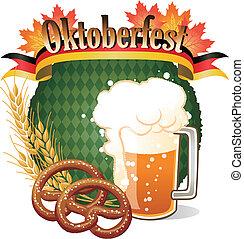 redondo, oktoberfest, celebração, desenho, com, cerveja, e, pretzel