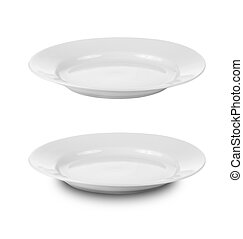 redondo, placa, o, platos, aislado, blanco, con, ruta de...