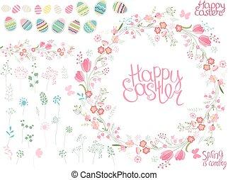 redondo, quadro, com, bonito, flores, e, texto, feliz, easter., festivo, floral, círculo, para, seu, estação, design.