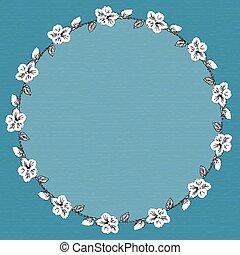 redondo, quadro, com, hibisco, flowers., vetorial, illustration.