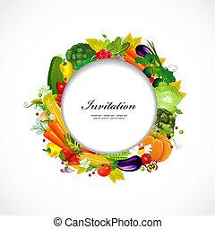 redondo, quadro, com, legumes frescos, para, seu, desenho