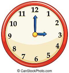 redondo, relógio, com, vermelho, quadro