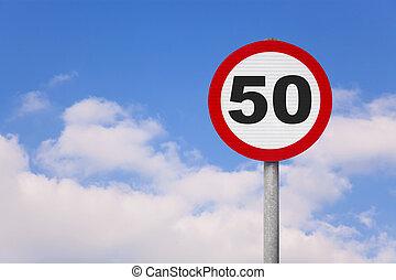 redondo, roadsign, com, número, 50, ligado, aquilo