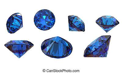 redondo, sapphire., aislado, blanco, piedra preciosa, azul, iolite., fondo., benitoit., tanzanite