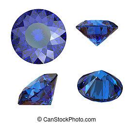 redondo, sapphire., aislado, blanco, piedra preciosa, azul, ...