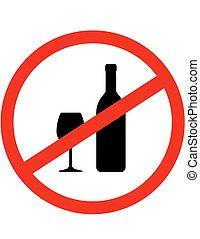 redondo, señal, parada, alcohol