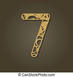 redondo, siete, oro, cut., número, laser, vector, pattern., ...