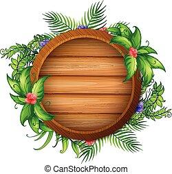redondo, tábua madeira, com, verde sai, e, flores