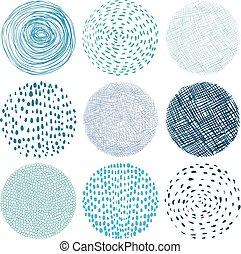 redondo, textura, elementos, con, scribbles, y, puntos, en, azul, colores, -, diseño gráfico, elementos