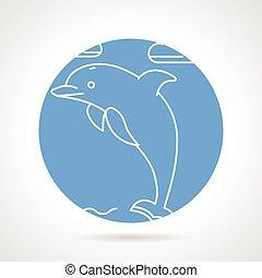 redondo, vector, icono, para, delfín